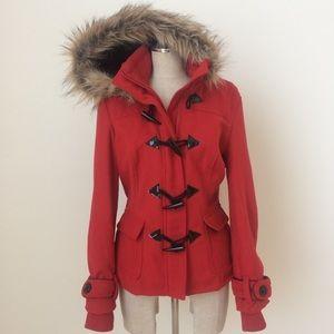 Full Tilt Red Hooded Toggle Jacket